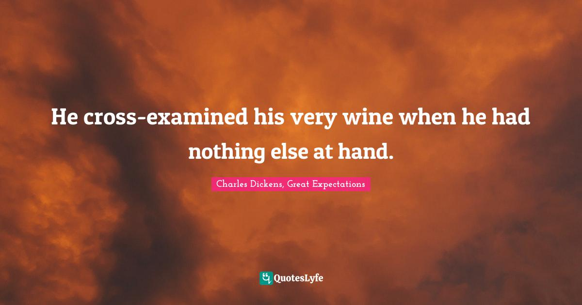 Charles Dickens, Great Expectations Quotes: He cross-examined his very wine when he had nothing else at hand.