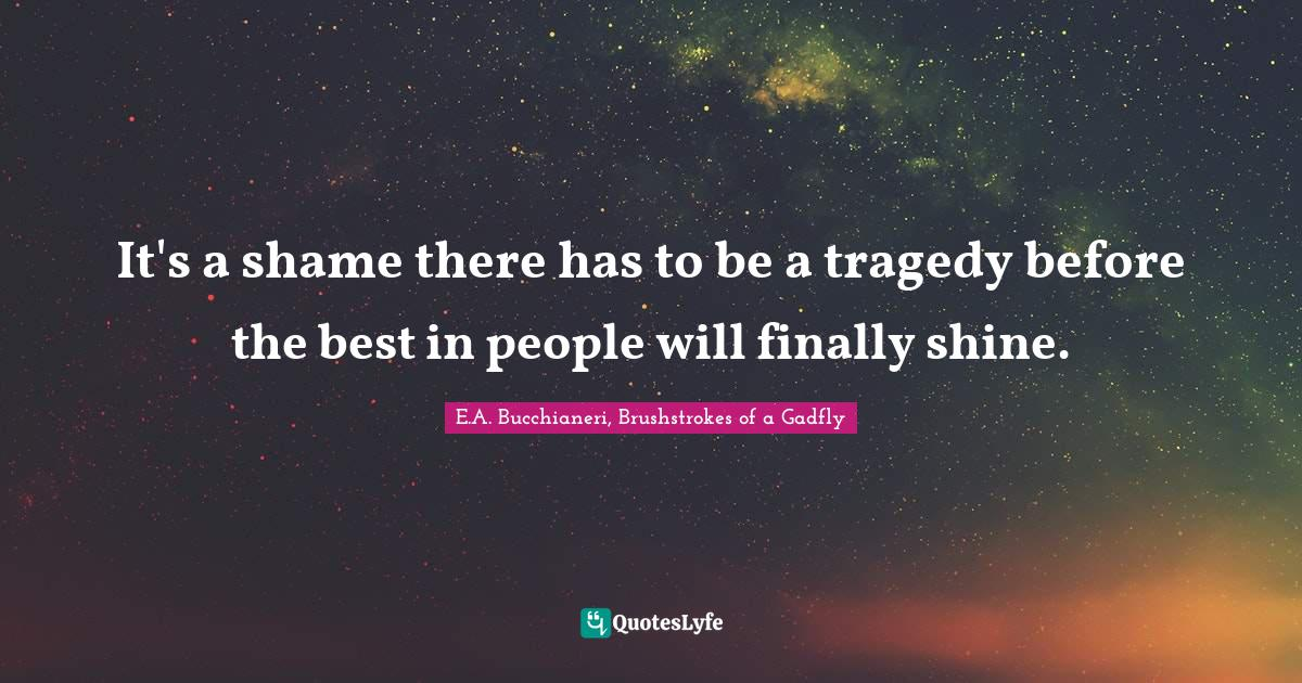 E.A. Bucchianeri, Brushstrokes of a Gadfly Quotes: It's a shame there has to be a tragedy before the best in people will finally shine.