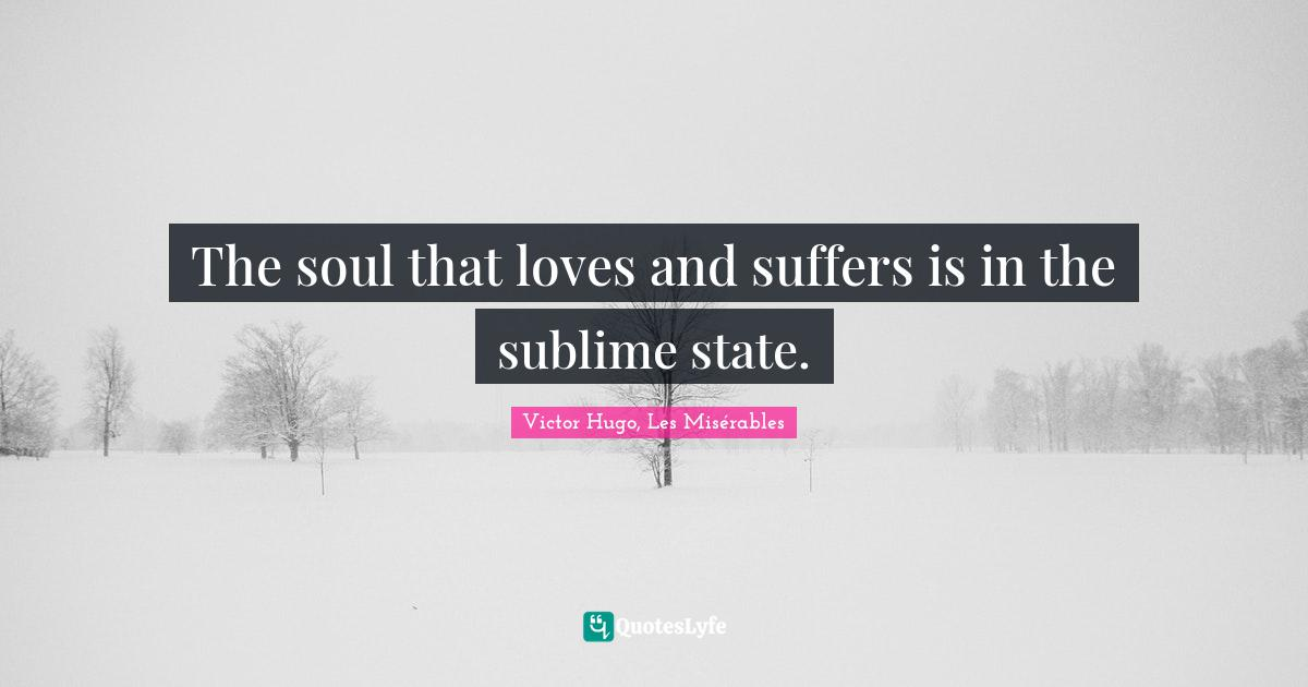 Victor Hugo, Les Misérables Quotes: The soul that loves and suffers is in the sublime state.