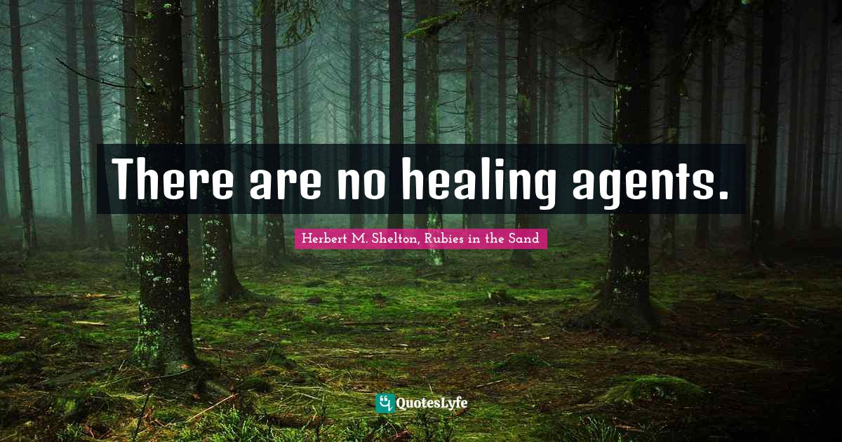 Herbert M. Shelton, Rubies in the Sand Quotes: There are no healing agents.