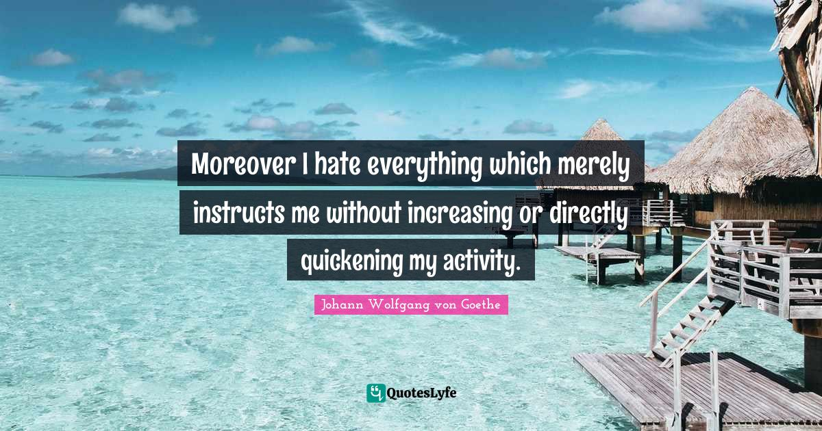 Johann Wolfgang von Goethe Quotes: Moreover I hate everything which merely instructs me without increasing or directly quickening my activity.
