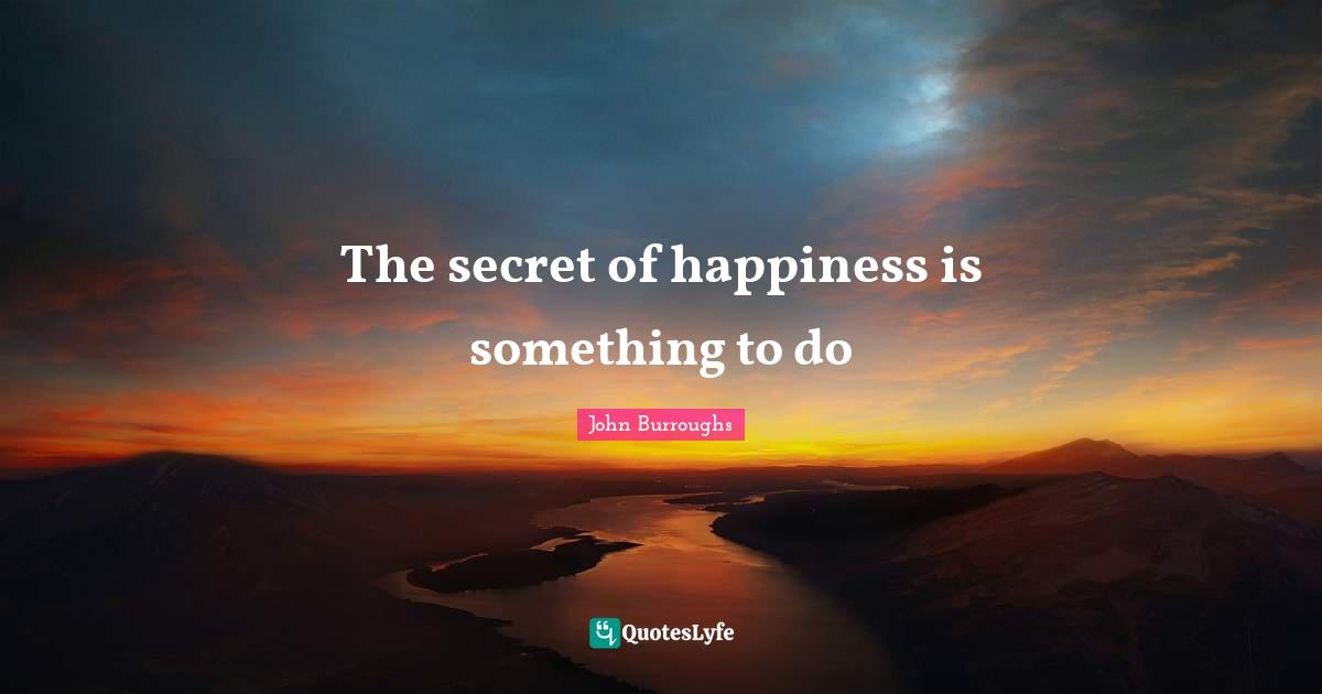 John Burroughs Quotes: The secret of happiness is something to do