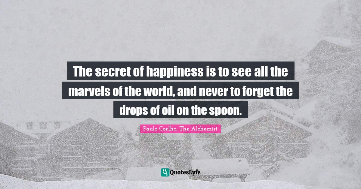 Paulo Coelho, The Alchemist Quotes: The secret of happiness is to see all the marvels of the world, and never to forget the drops of oil on the spoon.