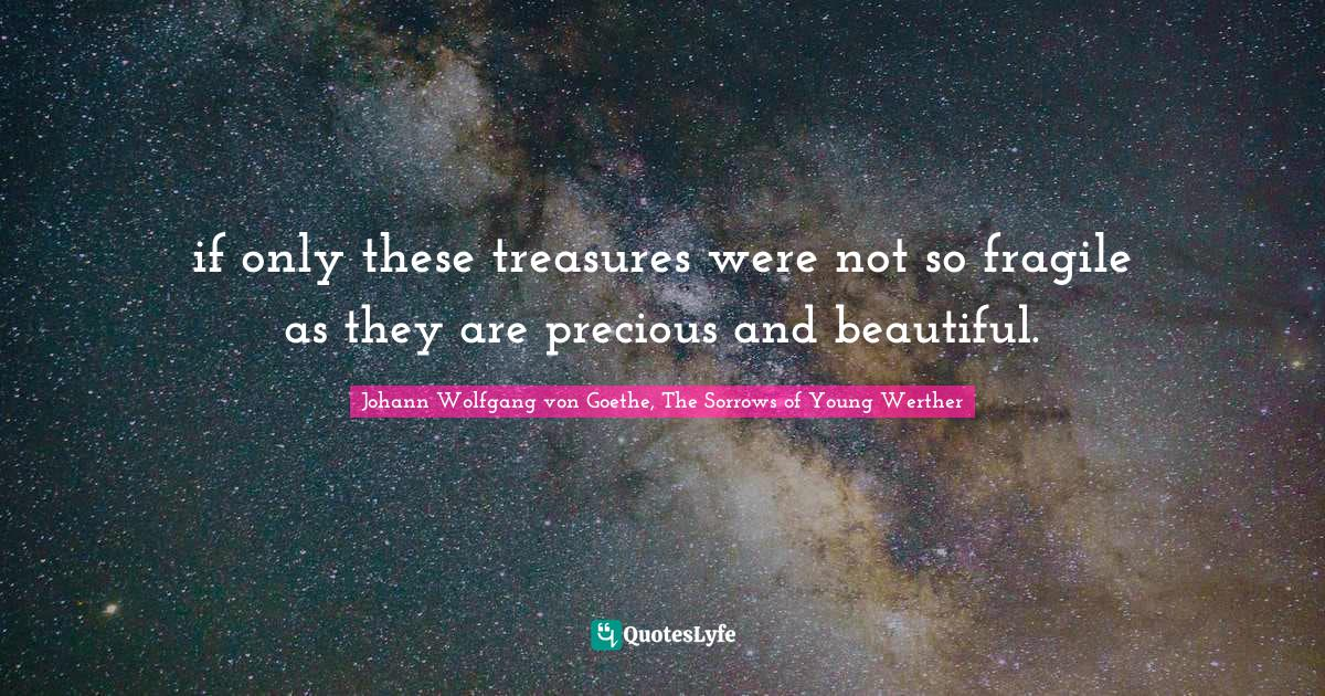 Johann Wolfgang von Goethe, The Sorrows of Young Werther Quotes: if only these treasures were not so fragile as they are precious and beautiful.