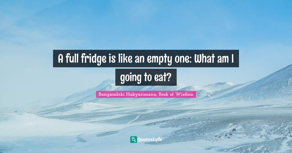 Bangambiki Habyarimana, Book of Wisdom Quotes: A full fridge is like an empty one: What am I going to eat?