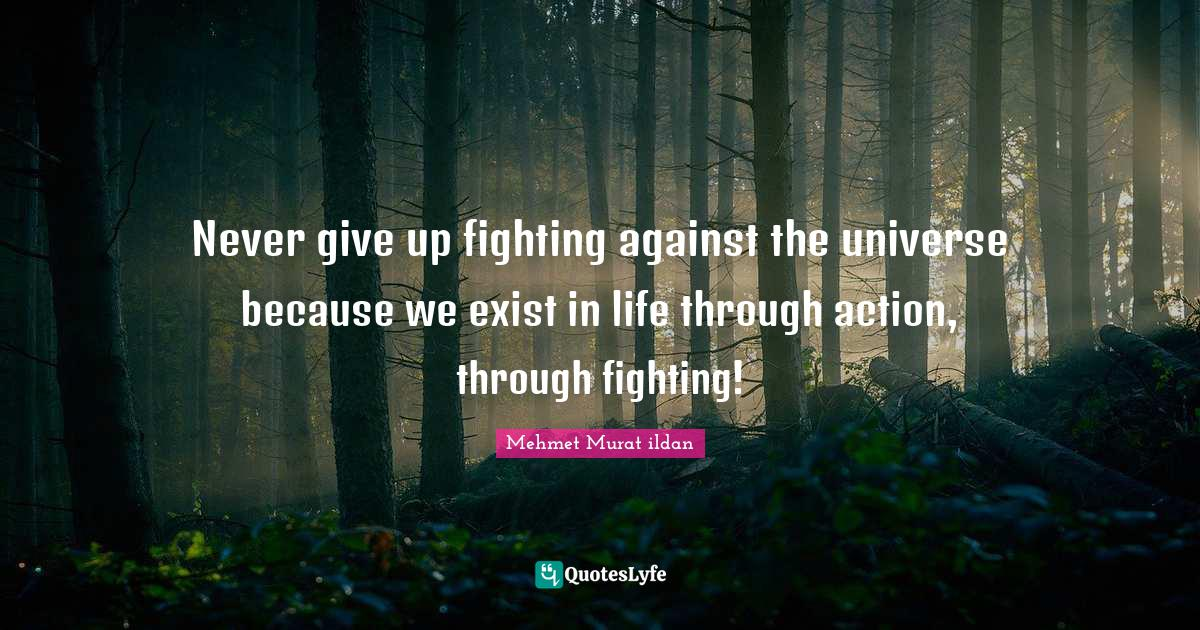 Mehmet Murat ildan Quotes: Never give up fighting against the universe because we exist in life through action, through fighting!