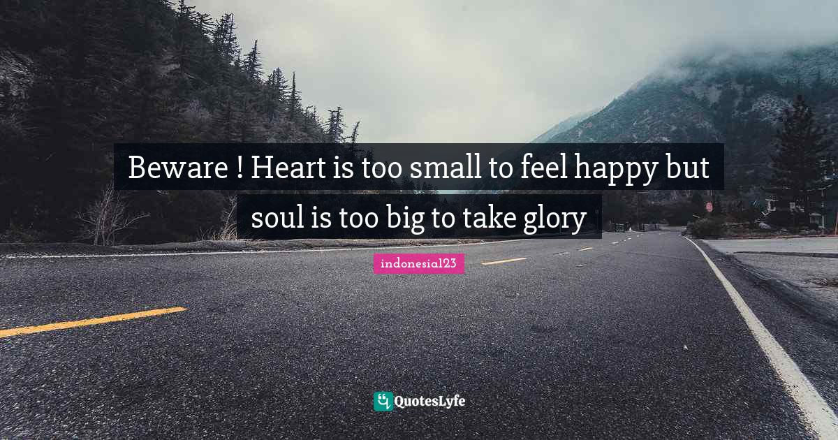 indonesia123 Quotes: Beware ! Heart is too small to feel happy but soul is too big to take glory