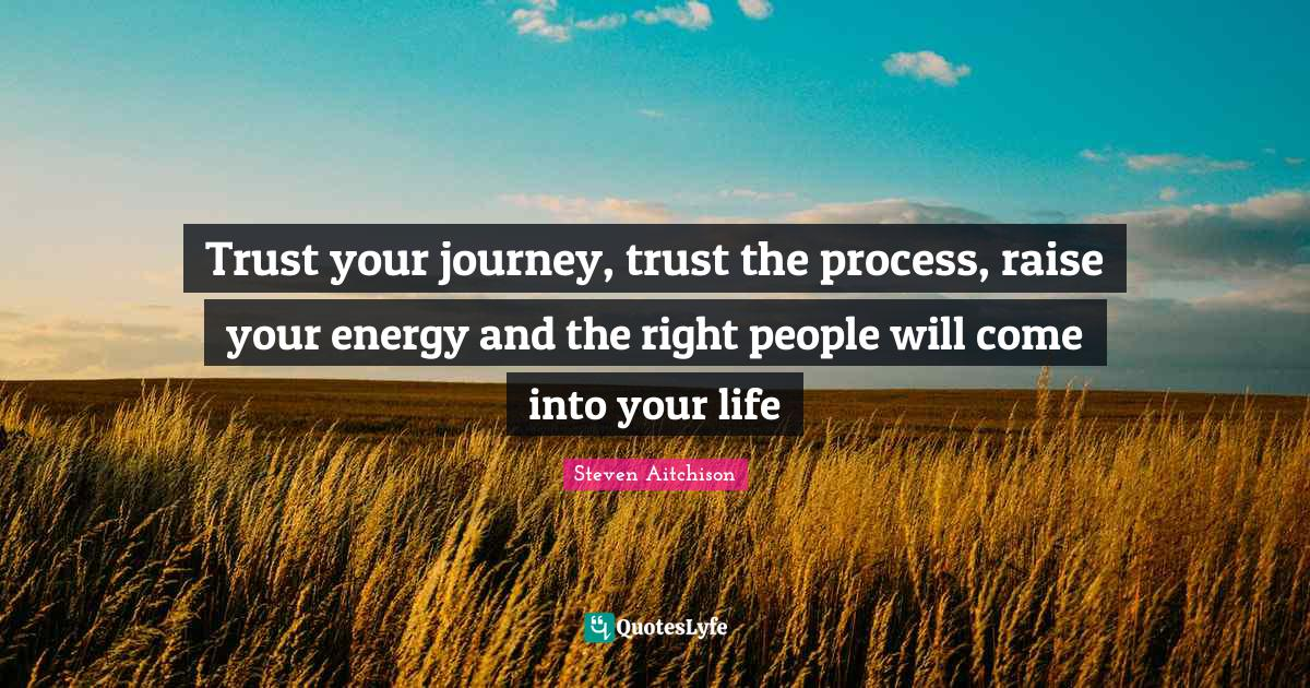 Steven Aitchison Quotes: Trust your journey, trust the process, raise your energy and the right people will come into your life