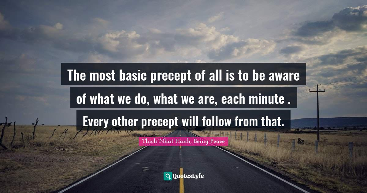 Thich Nhat Hanh, Being Peace Quotes: The most basic precept of all is to be aware of what we do, what we are, each minute . Every other precept will follow from that.