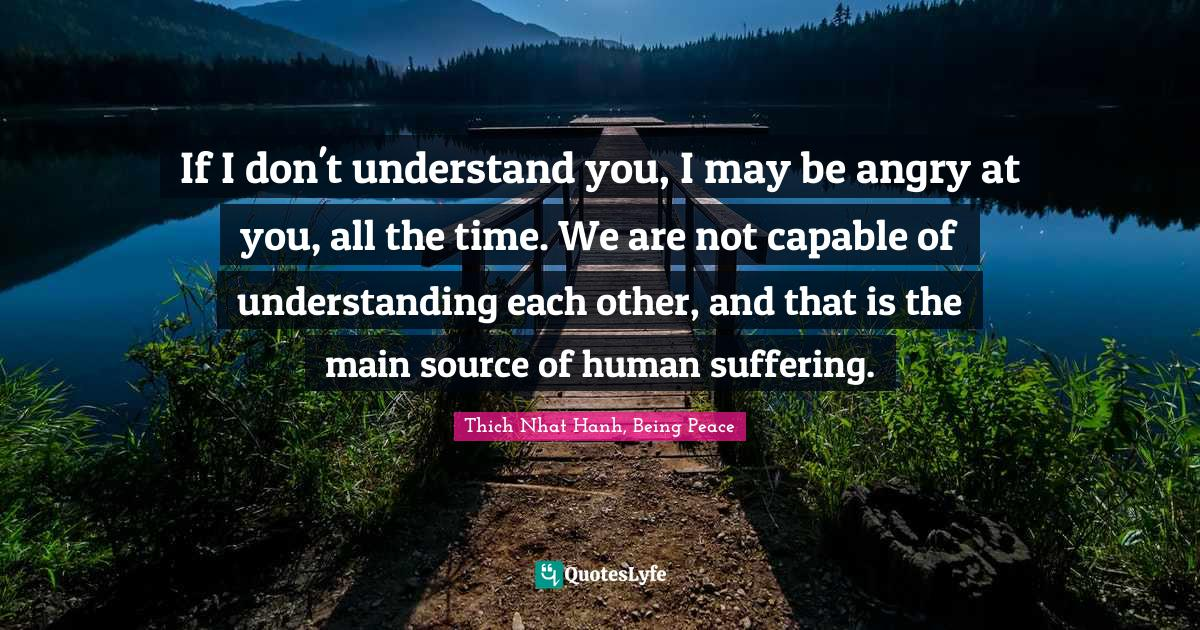 Thich Nhat Hanh, Being Peace Quotes: If I don't understand you, I may be angry at you, all the time. We are not capable of understanding each other, and that is the main source of human suffering.