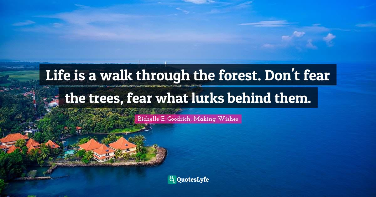 Richelle E. Goodrich, Making Wishes Quotes: Life is a walk through the forest. Don't fear the trees, fear what lurks behind them.