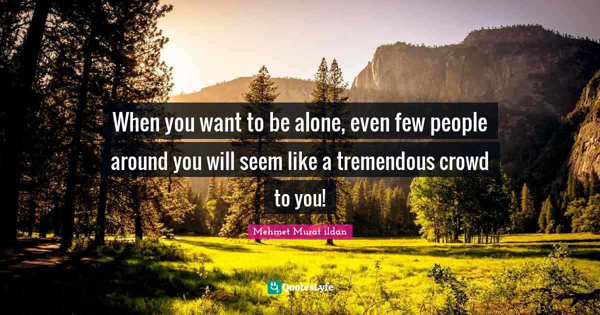 Mehmet Murat ildan Quotes: When you want to be alone, even few people around you will seem like a tremendous crowd to you!