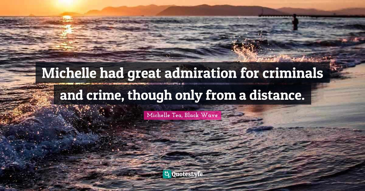 Michelle Tea, Black Wave Quotes: Michelle had great admiration for criminals and crime, though only from a distance.