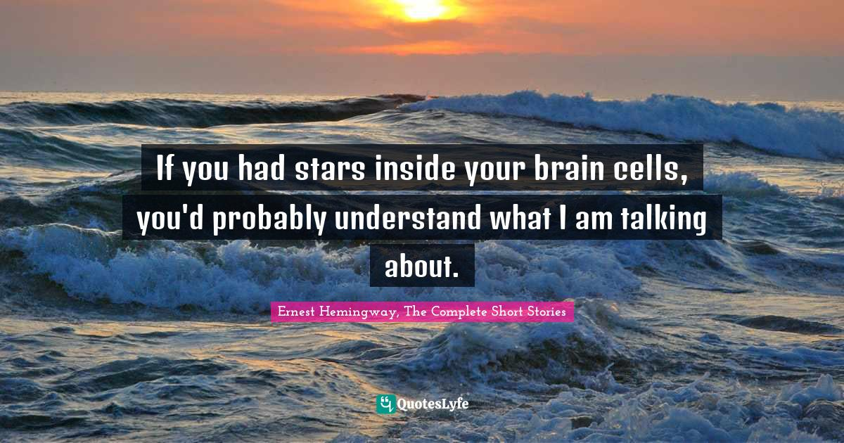 Ernest Hemingway, The Complete Short Stories Quotes: If you had stars inside your brain cells, you'd probably understand what I am talking about.
