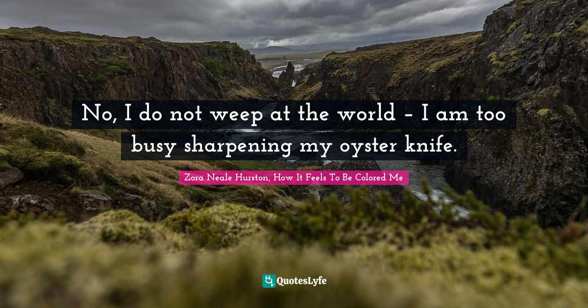 Zora Neale Hurston, How It Feels To Be Colored Me Quotes: No, I do not weep at the world – I am too busy sharpening my oyster knife.