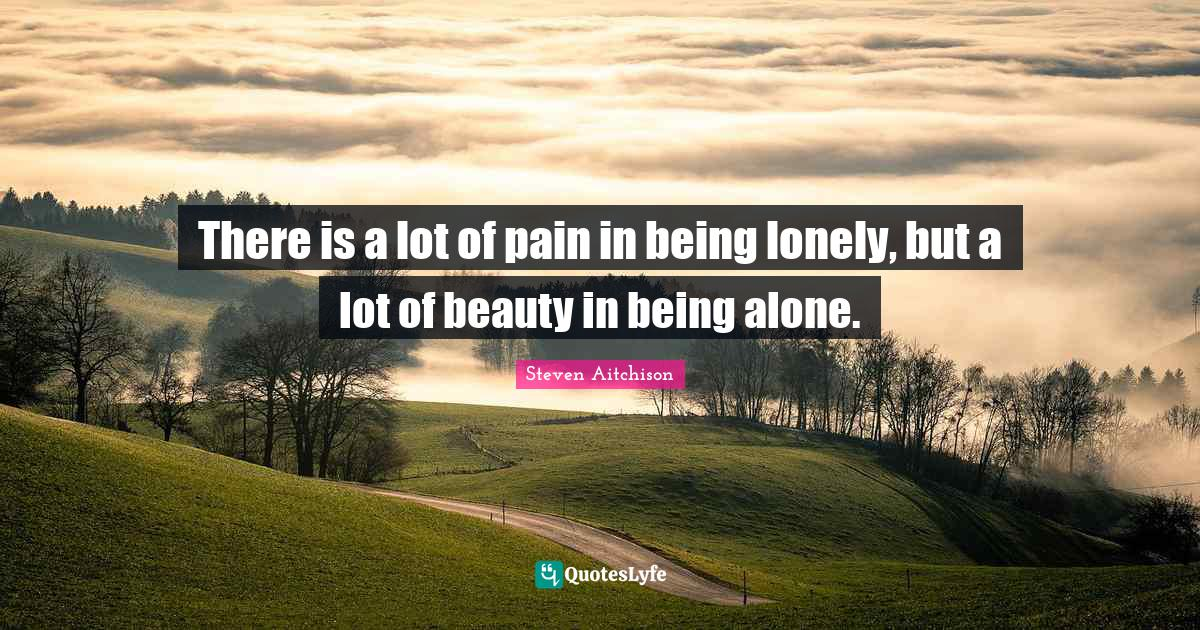 Steven Aitchison Quotes: There is a lot of pain in being lonely, but a lot of beauty in being alone.