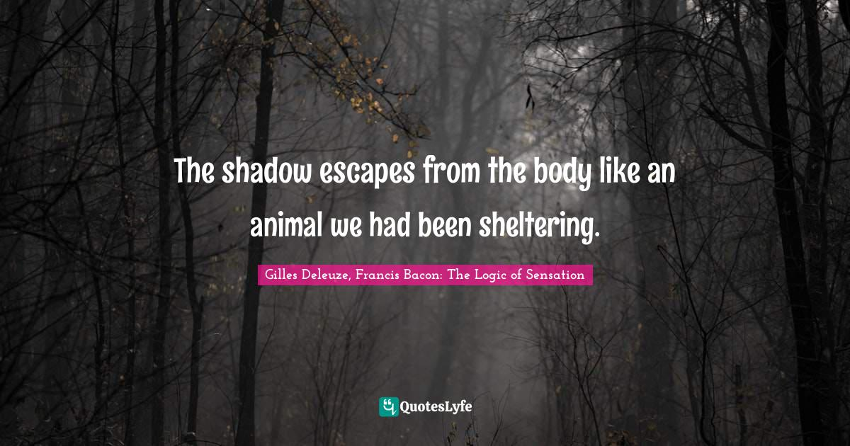 Gilles Deleuze, Francis Bacon: The Logic of Sensation Quotes: The shadow escapes from the body like an animal we had been sheltering.