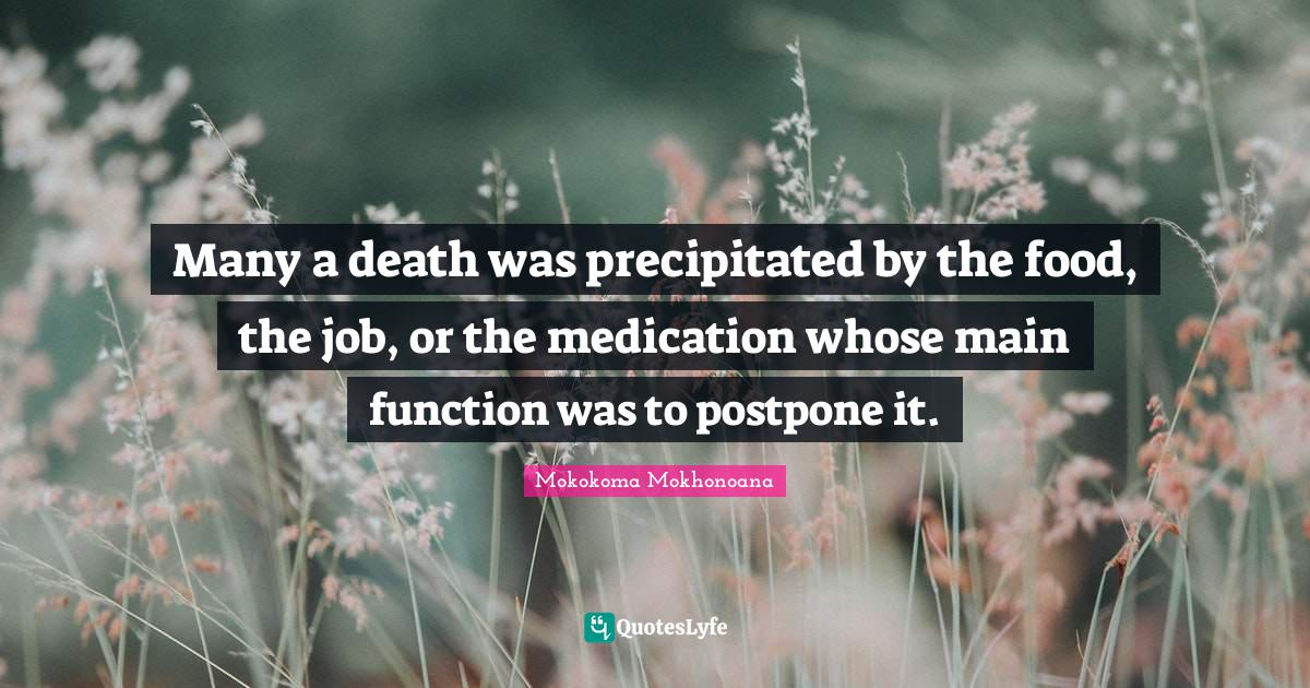 Mokokoma Mokhonoana Quotes: Many a death was precipitated by the food, the job, or the medication whose main function was to postpone it.