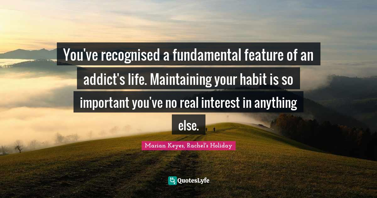 Marian Keyes, Rachel's Holiday Quotes: You've recognised a fundamental feature of an addict's life. Maintaining your habit is so important you've no real interest in anything else.