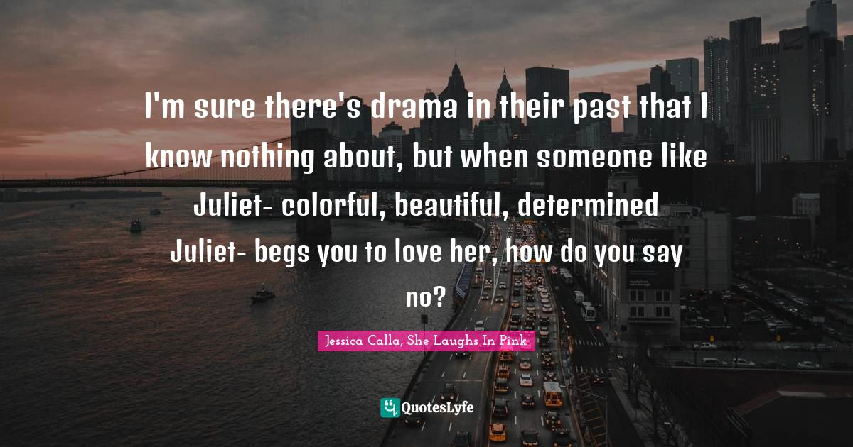 """Pink Quotes: """"I'm sure there's drama in their past that I know nothing about, but when someone like Juliet- colorful, beautiful, determined Juliet- begs you to love her, how do you say no?"""""""