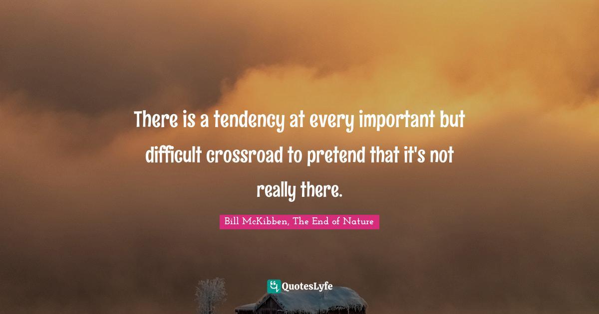 Bill McKibben, The End of Nature Quotes: There is a tendency at every important but difficult crossroad to pretend that it's not really there.