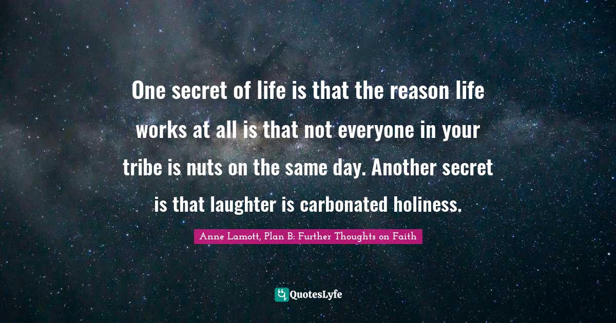 Anne Lamott, Plan B: Further Thoughts on Faith Quotes: One secret of life is that the reason life works at all is that not everyone in your tribe is nuts on the same day. Another secret is that laughter is carbonated holiness.