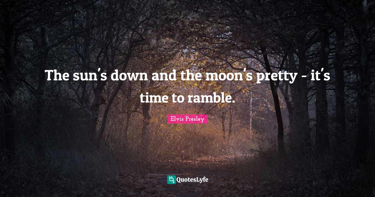 Elvis Presley Quotes: The sun's down and the moon's pretty - it's time to ramble.