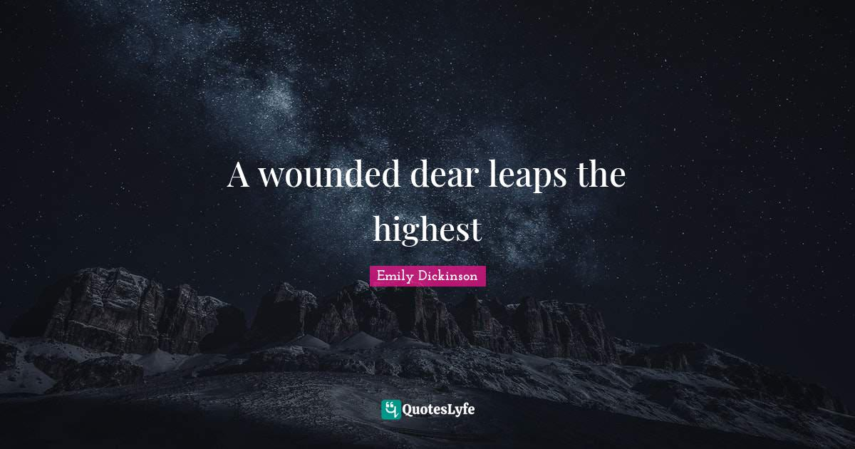 Emily Dickinson Quotes: A wounded dear leaps the highest
