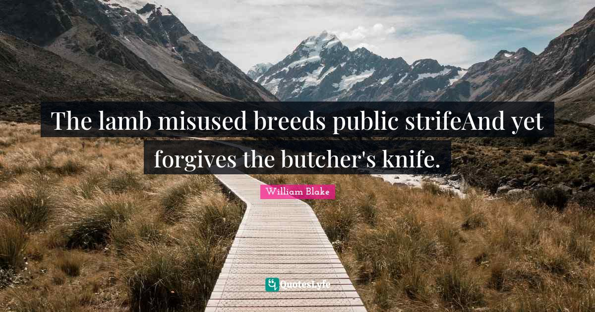 William Blake Quotes: The lamb misused breeds public strifeAnd yet forgives the butcher's knife.