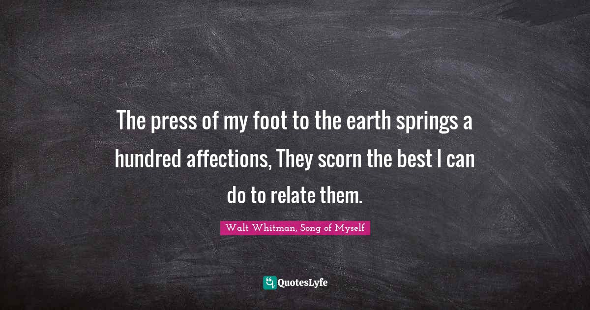 Walt Whitman, Song of Myself Quotes: The press of my foot to the earth springs a hundred affections, They scorn the best I can do to relate them.