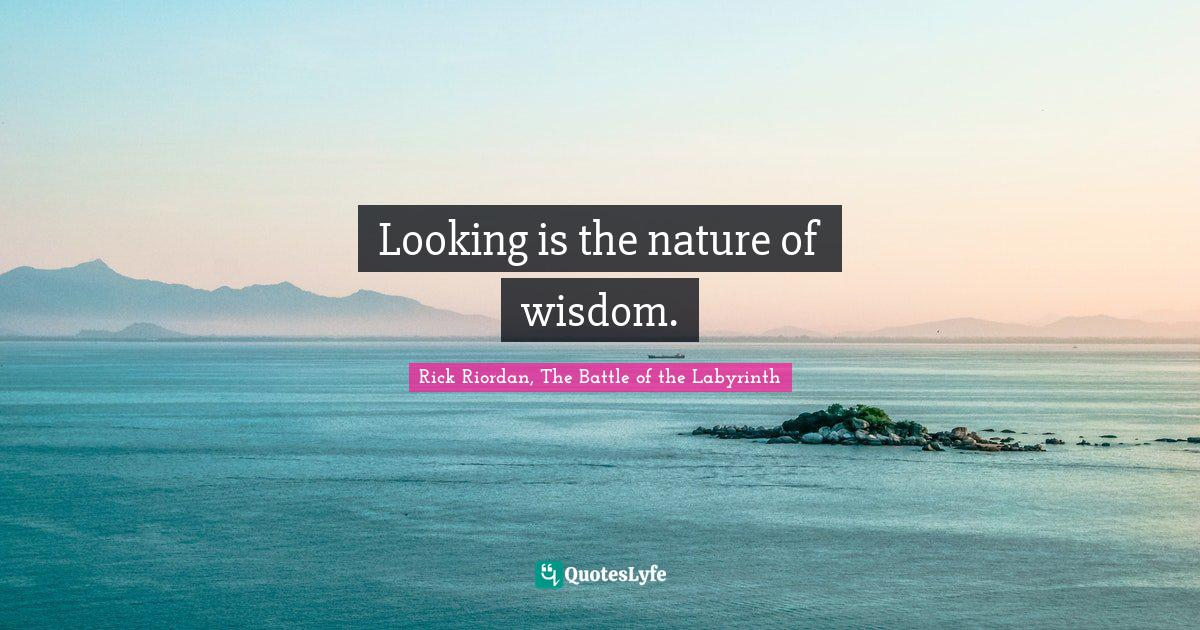 Rick Riordan, The Battle of the Labyrinth Quotes: Looking is the nature of wisdom.