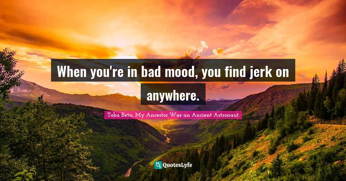 Toba Beta, My Ancestor Was an Ancient Astronaut Quotes: When you're in bad mood, you find jerk on anywhere.