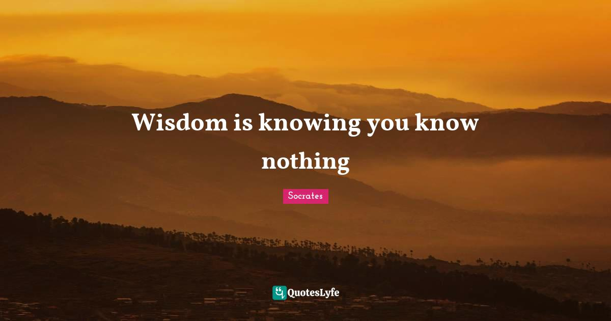 Socrates Quotes: Wisdom is knowing you know nothing