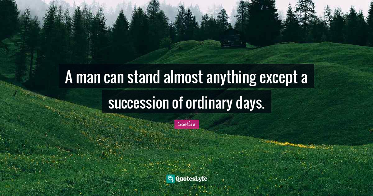 Goethe Quotes: A man can stand almost anything except a succession of ordinary days.