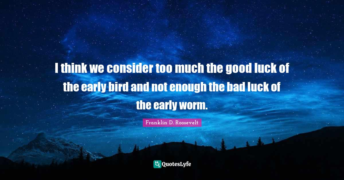 Franklin D. Roosevelt Quotes: I think we consider too much the good luck of the early bird and not enough the bad luck of the early worm.