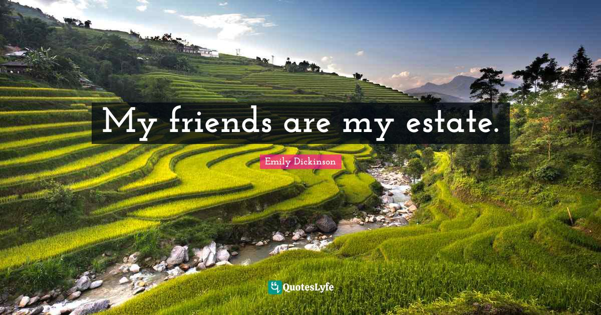 Emily Dickinson Quotes: My friends are my estate.