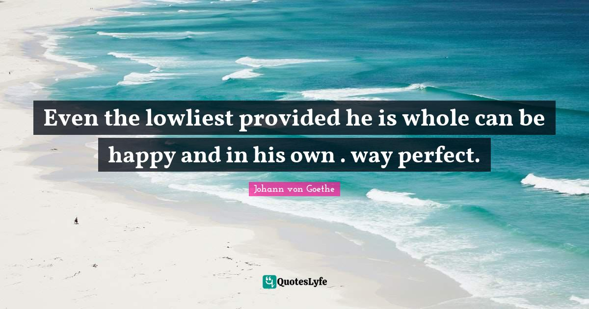 Johann von Goethe Quotes: Even the lowliest provided he is whole can be happy and in his own . way perfect.