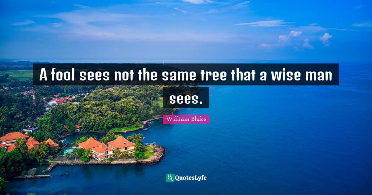William Blake Quotes: A fool sees not the same tree that a wise man sees.