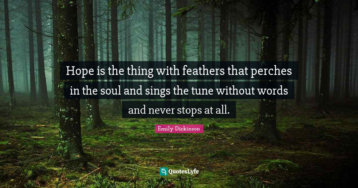 Emily Dickinson Quotes: Hope is the thing with feathers that perches in the soul and sings the tune without words and never stops at all.