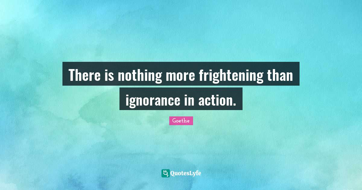 Goethe Quotes: There is nothing more frightening than ignorance in action.