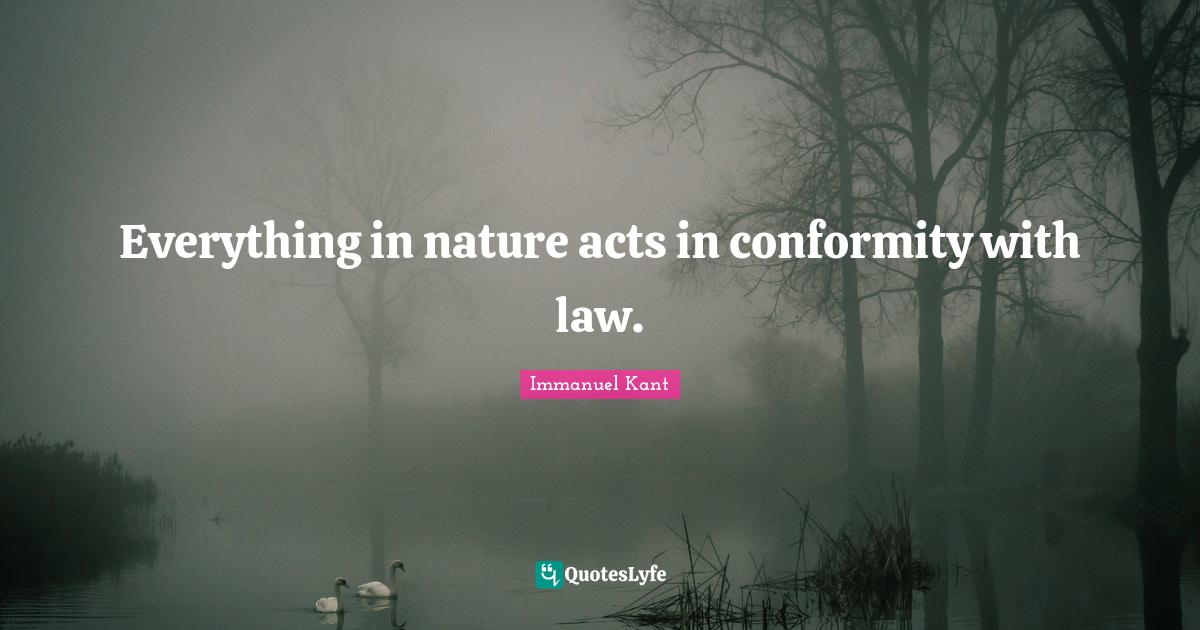 Immanuel Kant Quotes: Everything in nature acts in conformity with law.