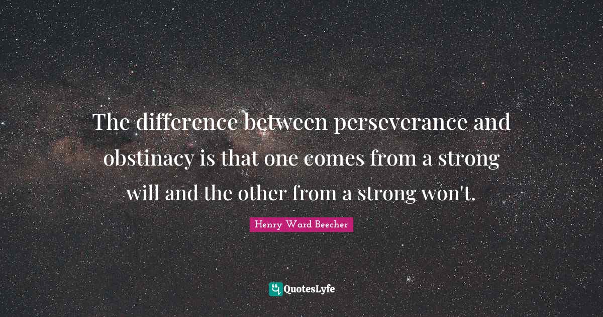 Henry Ward Beecher Quotes: The difference between perseverance and obstinacy is that one comes from a strong will and the other from a strong won't.