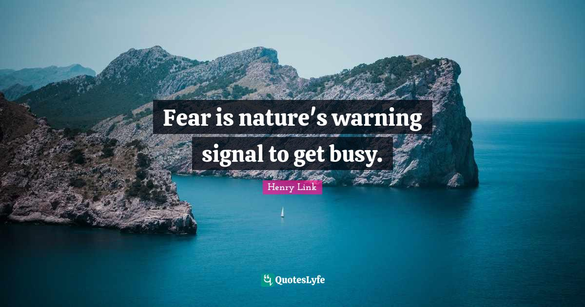 Henry Link Quotes: Fear is nature's warning signal to get busy.