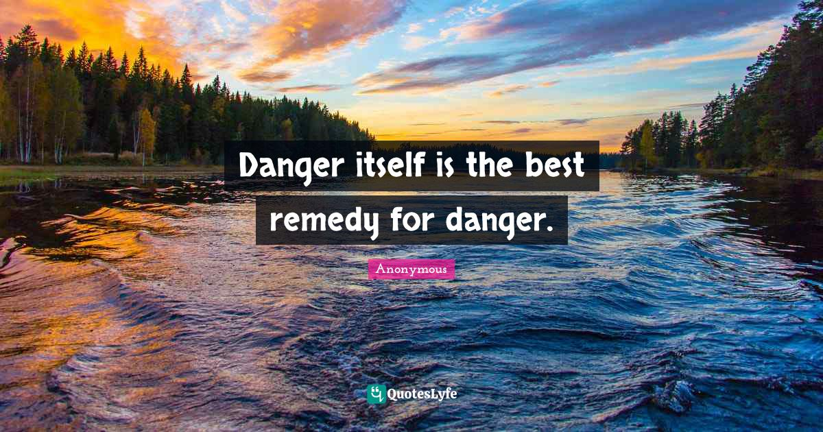 Anonymous Quotes: Danger itself is the best remedy for danger.