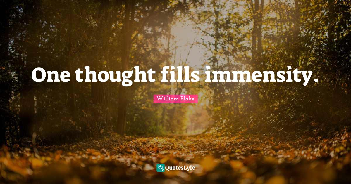 William Blake Quotes: One thought fills immensity.