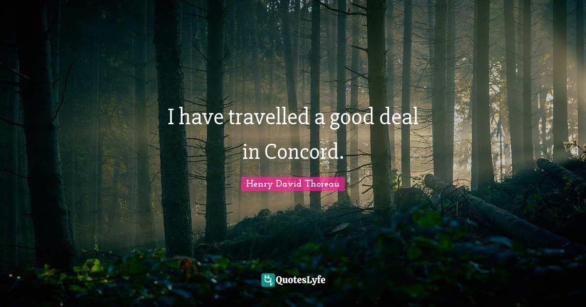 Henry David Thoreau Quotes: I have travelled a good deal in Concord.