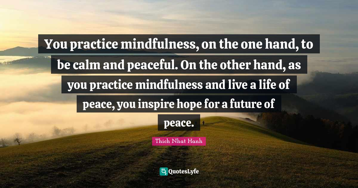 Thich Nhat Hanh Quotes: You practice mindfulness, on the one hand, to be calm and peaceful. On the other hand, as you practice mindfulness and live a life of peace, you inspire hope for a future of peace.