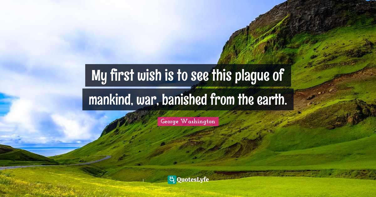 George Washington Quotes: My first wish is to see this plague of mankind, war, banished from the earth.