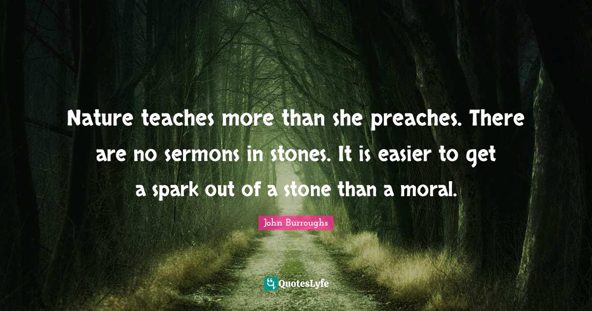John Burroughs Quotes: Nature teaches more than she preaches. There are no sermons in stones. It is easier to get a spark out of a stone than a moral.