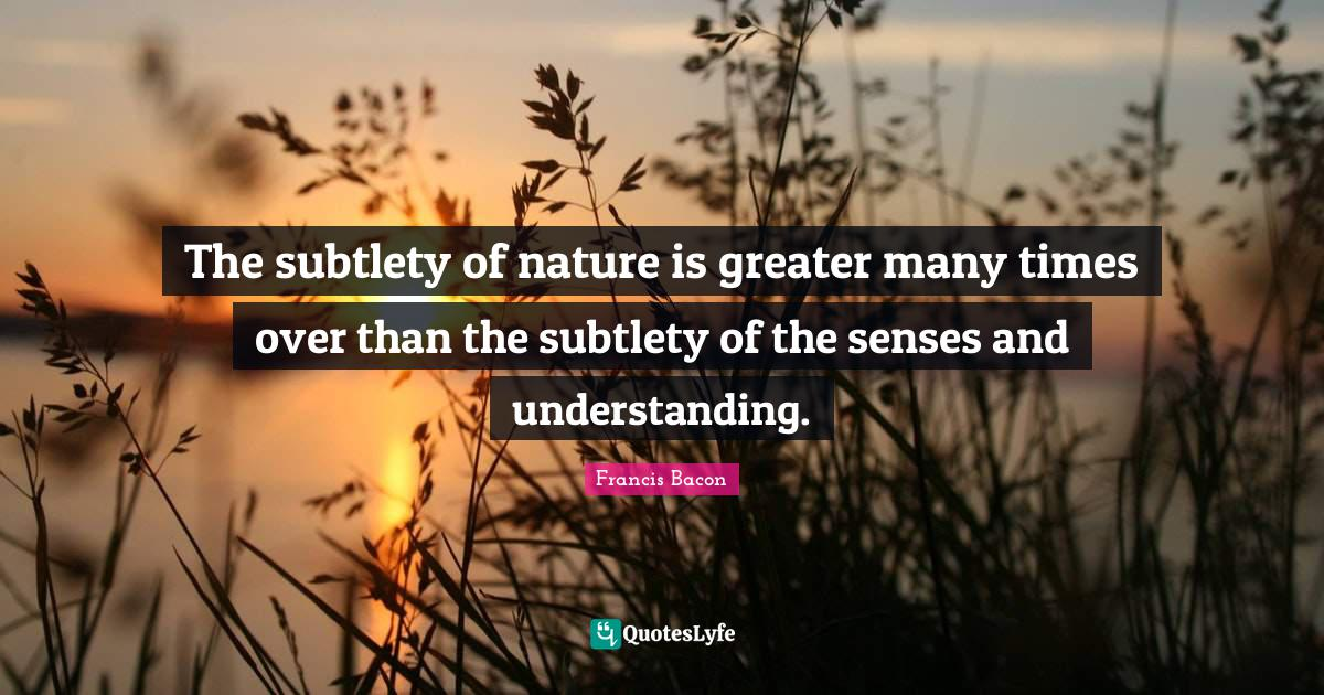 Francis Bacon Quotes: The subtlety of nature is greater many times over than the subtlety of the senses and understanding.